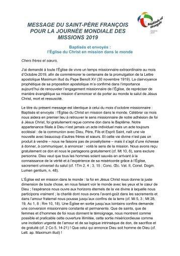 Message du Pape Francois pour le DMU 2019