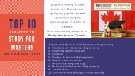 Top 10 Subjects to Study for Masters in Canada 2019