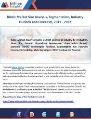 Biotin Market Size Analysis, Segmentation, Industry Outlook and Forecasts, 2017 - 2022