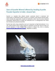 Uses of Kyanite Mineral offered by leading Kyanite Powder Exporter in India
