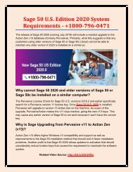 Sage 50 U.S. Edition 2020 System Requirements - +1800-796-0471