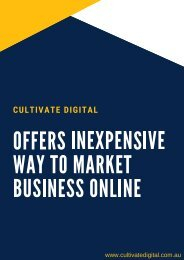 Cultivate Digital – Offers Inexpensive Way to Market Business Online