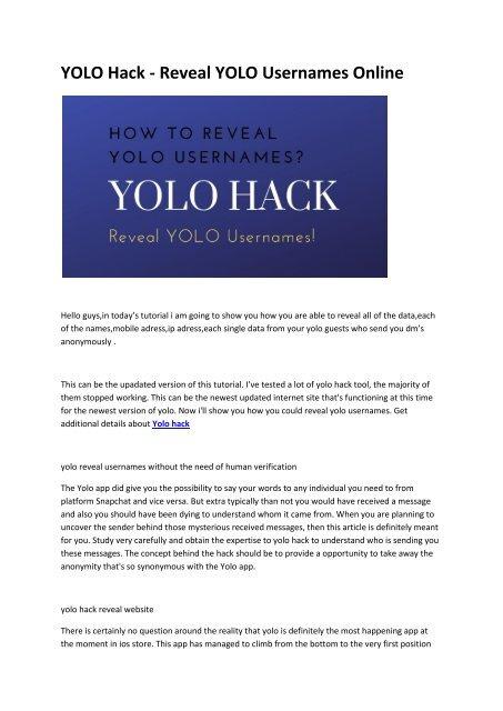 5 Yolo Reveal