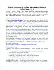 Medical Aesthetics Market 2019 Significantly Growing Across