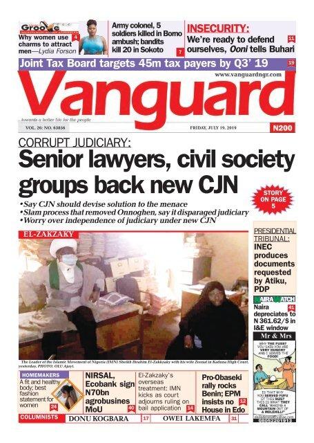 19072019 - CORRUPT JUDICIARY: Senior lawyers, civil society groups back new CJN