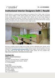 Institutional Interior Designers Delhi-Resaiki