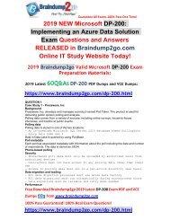 [2019-July-Version]New Braindump2go DP-200 PDF Dumps Free Share(Q1-Q5)