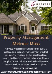 Property Management Melrose Mass | Property Management Boston