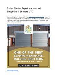 Roller Shutter Repair - Advanced Shopfront & Shutters LTD