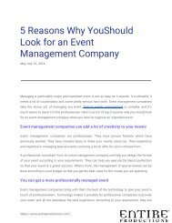 5 Reasons Why You Should Look for an Event Management Company