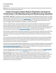 Caster Concepts Casters Reduce Downtime and Improve Productivity in the Manufacturing and Warehousing Industries