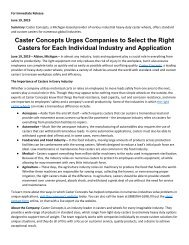 Caster Concepts Urges Companies to Select the Right Casters for Each Individual Industry and Application