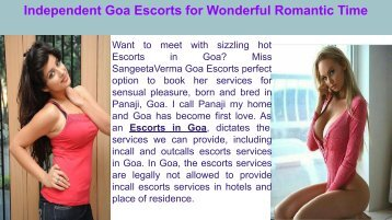 Independent Goa Escorts for Wonderful Romantic Time + +91-7045327295