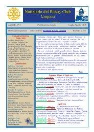 Notiziario Rotary Club Cropani Anno III n° 1 luglio-agosto 2019