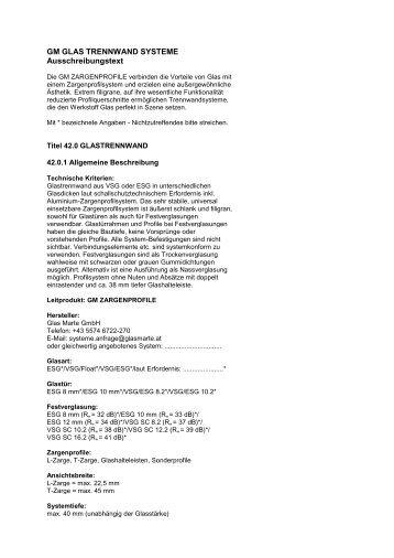 GM ZARGENPROFILE – Ausschreibungstext