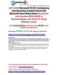 [2019-July-Version]New Braindump2go 70-537 VCE Dumps Free Share