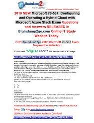 [2019-July-Version]New Braindump2go 70-537 VCE and 70-537 PDF Dumps Free Share