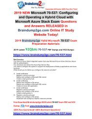 [2019-July-Version]New Braindump2go 70-537 PDF and 70-537 VCE Dumps Free Share