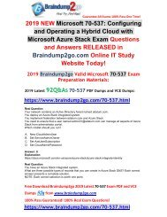 [2019-July-Version]New Braindump2go 70-537 Dumps with PDF and VCE Free Share