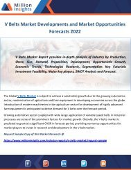 V Belts Market Developments and Market Opportunities Forecasts 2022