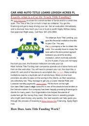 Get Auto Title Loans Lehigh Acres FL | 941-254-3999