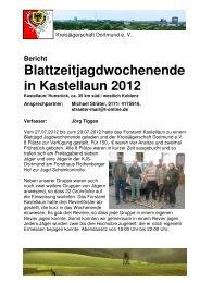 Bericht Blattzeitjagdwochenende in Kastellaun 2012
