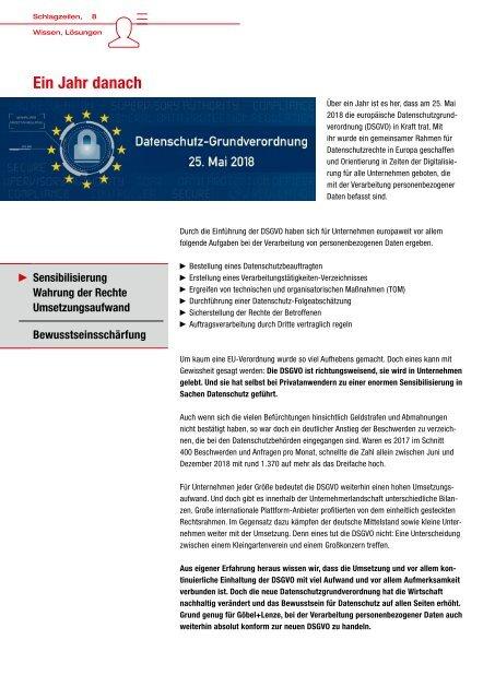 EINDRUCK - Der Newsletter von Göbel+Lenze Ausgabe 02/2019