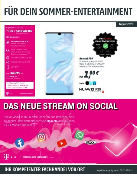 Telekom Monatsflyer August 2019
