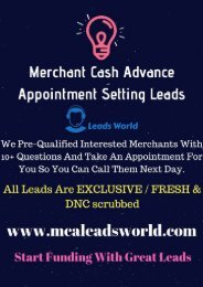 Merchant Cash Advance Leads Live Transfers - MCA Leads World
