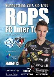 Käsiohjelma RoPS - FC Inter Turku 28.7.2019