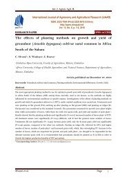 The effects of planting methods on growth and yield of groundnut (Arachis hypogaea) cultivar natal common in Africa South of the Sahara | IJAAR