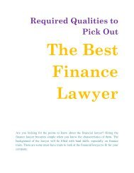 Required Qualities to Pick Out the Best Finance Lawyer