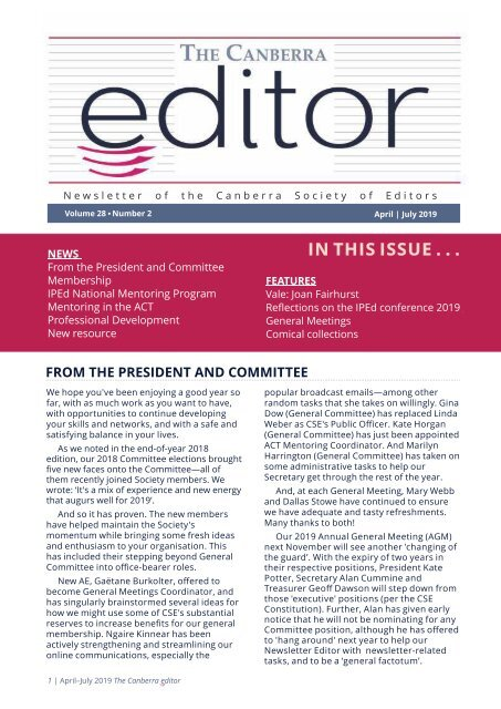 The Canberra editor April to July 2019