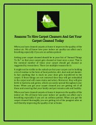 Reasons To Hire Carpet Cleaners And Get Your Carpet Cleaned Today