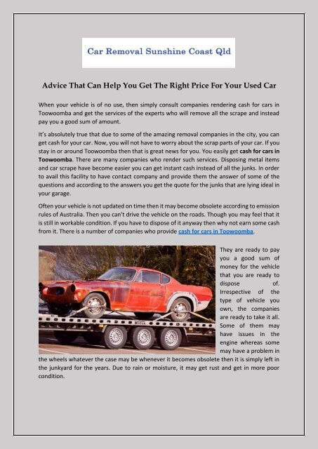 Advice That Can Help You Get The Right Price For Your Used Car