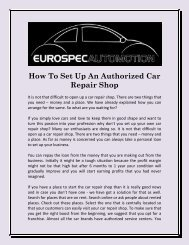 How To Set Up An Authorized Car Repair Shop