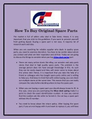 How To Buy Original Spare Parts
