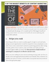 5 OF THE BIGGEST BENEFITS OF CONTENT MARKETING