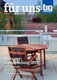 Baugenossenschaft Hof eG: für uns - August 2019
