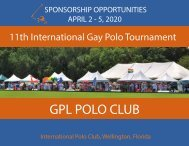 11th International Gay Polo Tournament Sponsorship Opportunities