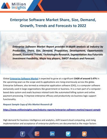 Enterprise Software Market Share, Size, Demand, Growth, Trends and Forecasts to 2022