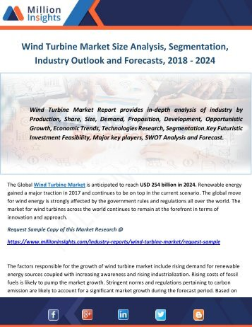 Wind Turbine Market Size Analysis, Segmentation, Industry Outlook and Forecasts, 2018 - 2024