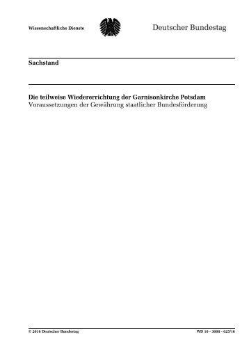 Die teilweise Wiedererichtung der Garnisonkirche Potsdam   Voraussetzungen der Gewährung staatlicher Bundesförderung