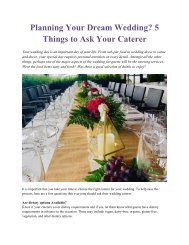 Planning Your Dream Wedding - 5 Things to Ask Your Caterer