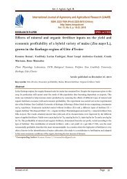 Effects of mineral and organic fertilizer inputs on the yield and economic profitability of a hybrid variety of maize (Zea mays L.), grown in the Korhogo region of Côte d'Ivoire | IJAAR