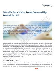 Wearable Patch Market Trends Estimates High Demand By 2026