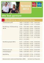Termine 2013 - BFW Bad Pyrmont & BFW Weser-Ems