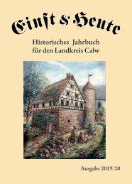 Einst & Heute – Historisches Jahrbuch für den Landkreis Calw – Ausgabe 2019/20