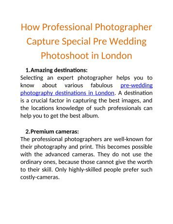 How Professional Photographer Capture Special Pre Wedding Photoshoot in London