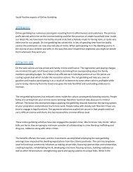 Social Positive aspects of Online Gambling6